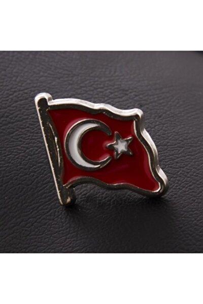 Ay Yıldız Türk Bayrağı Gümüş Renk Yaka Rozet