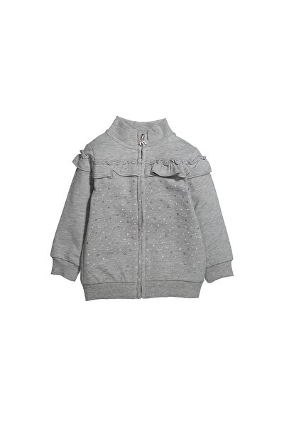 Puantiyeli Fırfırlı Fermuarlı Sweatshirt (12AY-4YAŞ)