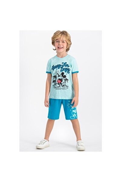 Erkek Çocuk Mavi Lisanslı Nil Yeşil Bisiklet Yaka Bermuda Takım