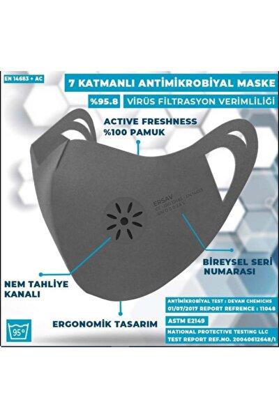 Gri 7 Katlı Antimikrobiyal Yıkanabilir Maske