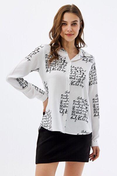 Kadın Yazılı Uzun Kollu Gömlek P21s110-8983
