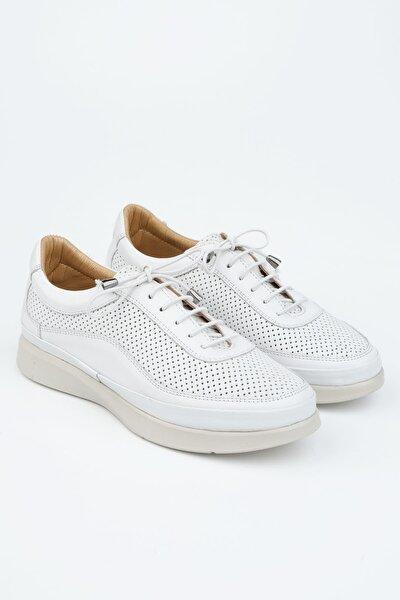 Kadın Beyaz Hakiki Deri Comfort Ayakkabı Amaso