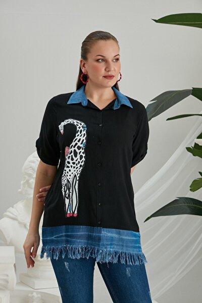 Zürafa Baskılı Püskül Detaylı Büyük Beden Siyah Gömlek