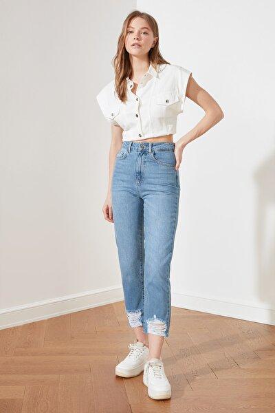 Mavi Paçası Yırtık Detaylı Yüksek Bel Straight Jeans TWOAW21JE0837
