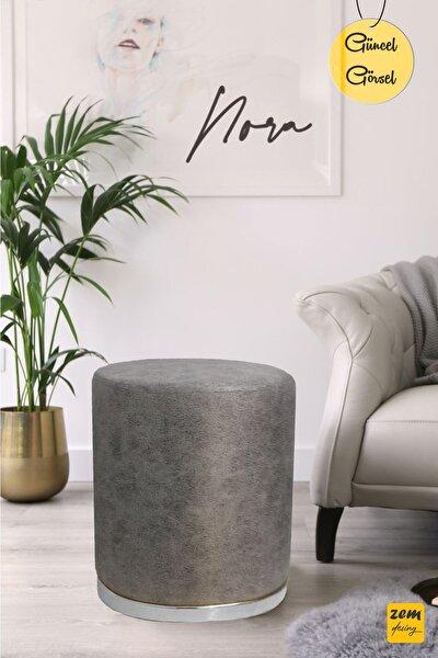 Nora Silinebilir Puf - Grey Silver