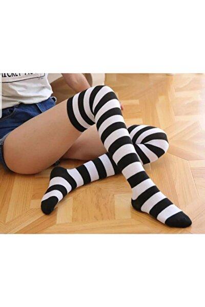 Çizgili Şık Tasarım Diz Üstü Çorap