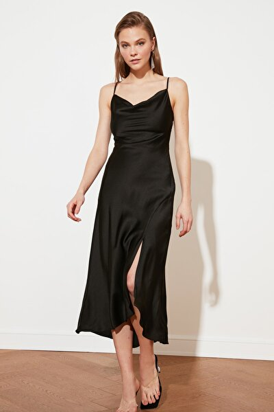 Siyah Degaje Yaka Saten Elbise TPRSS19BB0058