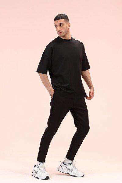 Erkek Siyah Dar Paça Pantolonlu Takım