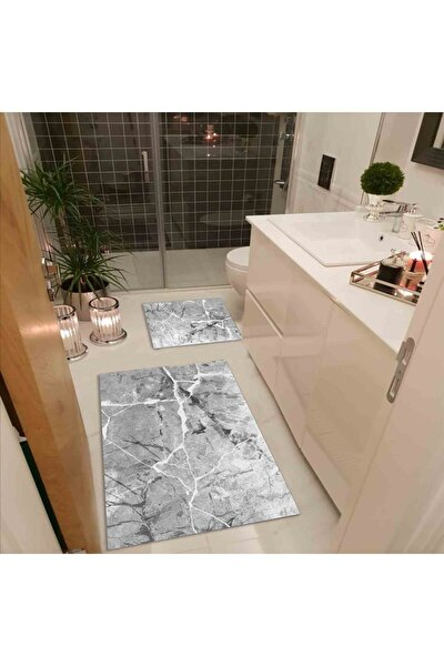 Granit Gri 2'li 60x100 - 50x60 Dijital Baskılı, Kaydırmaz, Banyo Paspası Seti