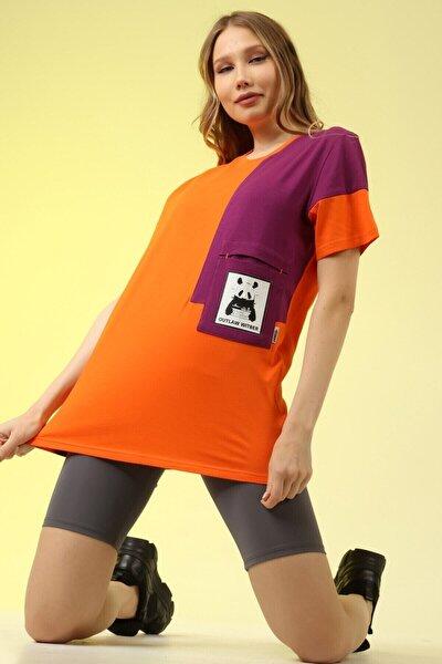 Kadın Turuncu Baskılı Tshirt