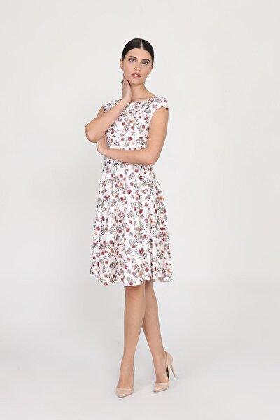Kadın Ekru Kayık Yakalı Düşük Kollu Desenli Dalgıç Mini Elbise