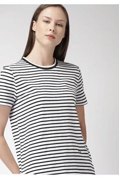 Kadın Women's Navy Blue & White Striped Round Neck T-shirt