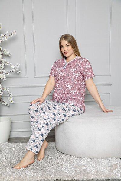 Kadın Pembe Kısa Kol  Battal Beden Pijama Takımı