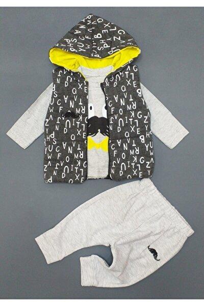 Erkek Bebek Gri 3 Parça Yelekli Takım ,hıppıl Baby %100 Pamuk Ürün