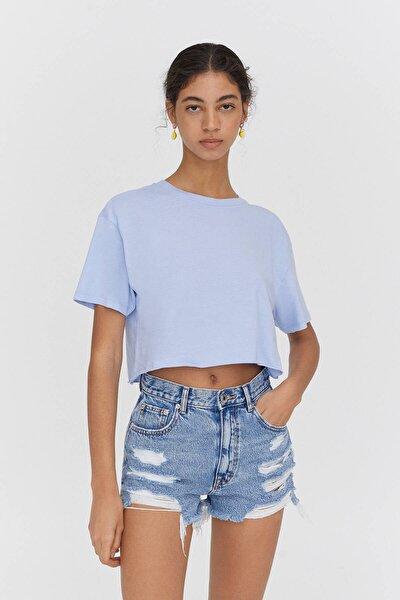 Biyeli Dikişli Crop Fit T-shirt - %100 Organik Pamuklu