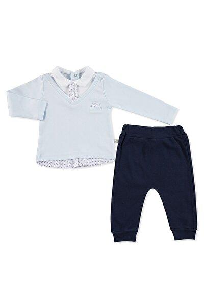 Erkek Bebek Mavi Kravatlı 2li Takım