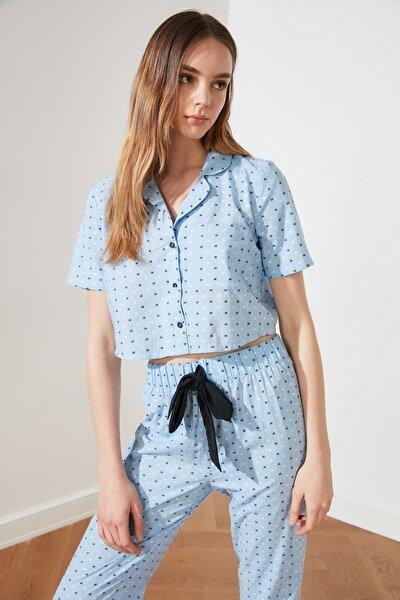 Mavi Dokuma Pijama Takımı THMSS21PT0357