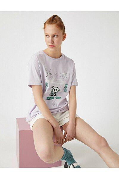 Kadın Mor Bisiklet Yaka T-Shirt