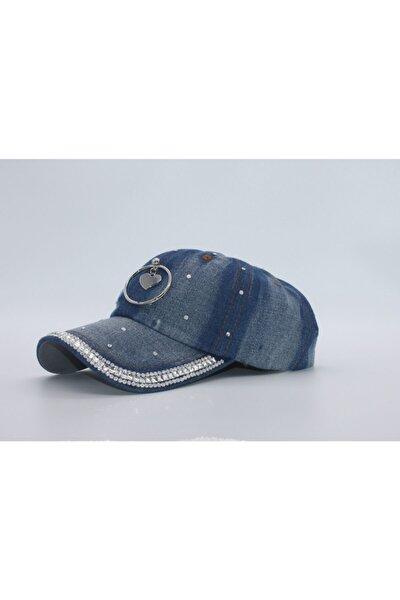 Kadın Kalp Aksesuarlı Kot Şapka Pullu Kep Kilitli Gabardin Kep Mavi