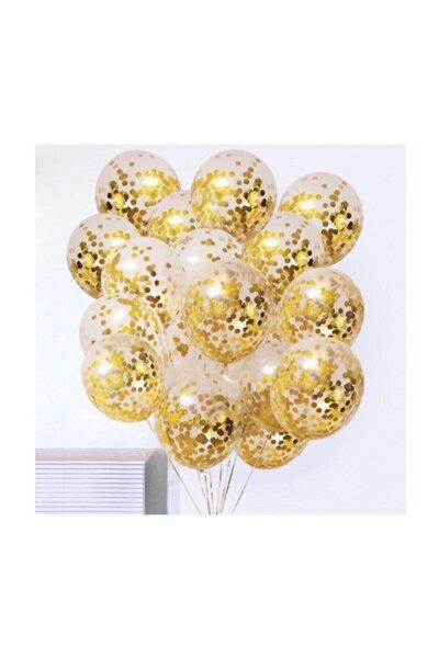 Gold Konfetili Şeffaf Balon Seti - 10 Adet