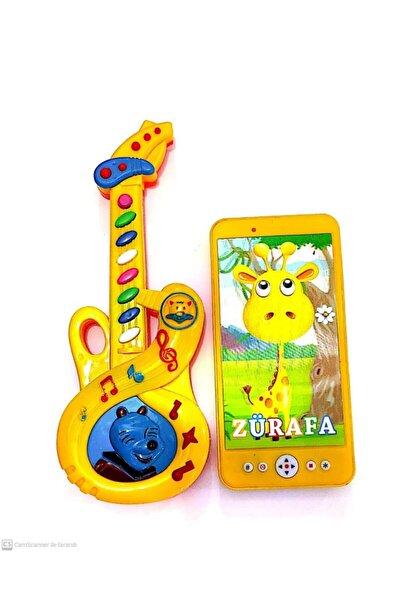 Müzikli Mini Gitar(25cm)&ışıklı Müzikli Telefon(15cm)