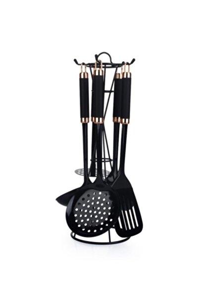 Perlino 5'li Metal Standlı Mutfak Set Siyah Byk-009899