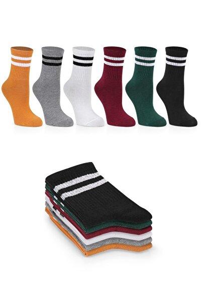 Kadın 6'lı Karışık Renkli Çizgili Tenis Unisex Çorap Karışık-standart(40-44)