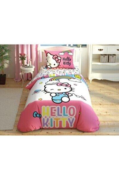 Pembe Nevresim Takımı Hello Kitty Rainbow Tek Kişilik