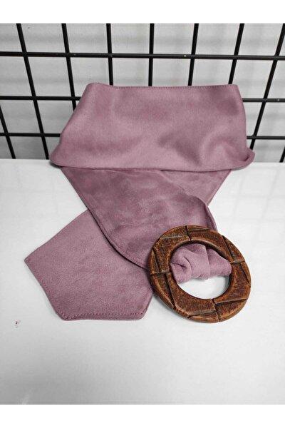 Tahta Görünümlü Plastik Tokalı Pembe Kadın Kemeri