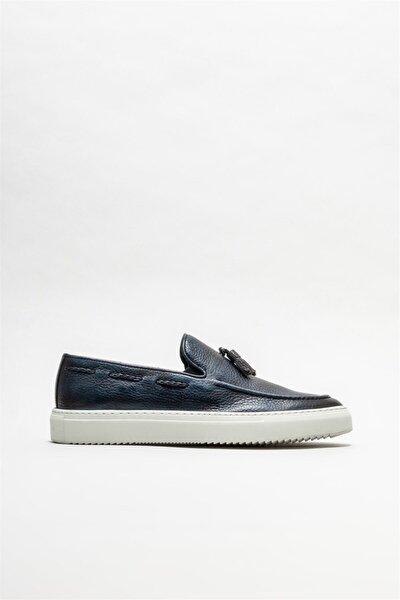 Erkek Lacivert Deri Loafer Ayakkabı