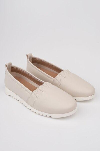 Kadın Bej Hakiki Deri Comfort Ayakkabı Tilev
