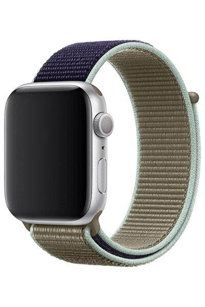Apple Watch Spor Loop 1 2 3 4 5 6 Se Seri Uyumlu Haki Örgü  Kordon
