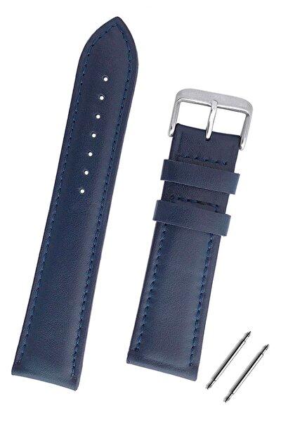 22mm Saat Uyumlu Lacivert Renk Klasik Model Deri Saat Kordonu Kayışı
