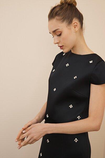 Kadın Siyah Dot İşlemeli Bluz