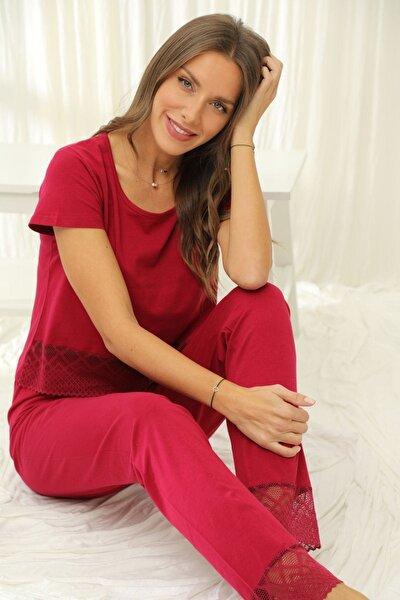 Kadın Bordo Kısa Kollu Dantelli Pamuklu Likralı Pijama Takım