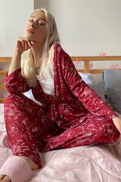Kadın Kırmızı Çiçek Baskılı Sabahlıklı Pijama Takımı