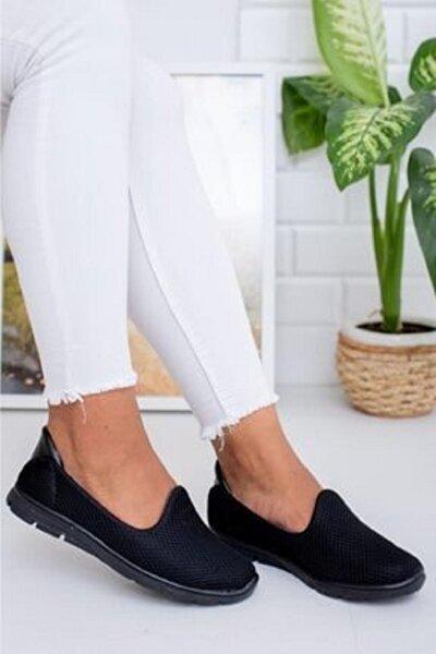 Kadın Siyah Memory Foam Ortopedik Rahat Taban Spor Babet Ayakkabı