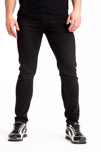 Erkek Siyah Slim Fit Likralı Kot Pantolon