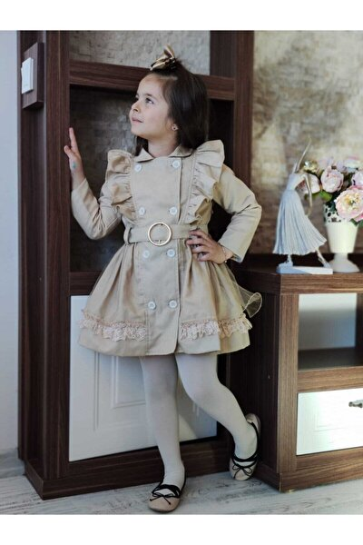 Kız Çocuk Bej Trençkot Elbise
