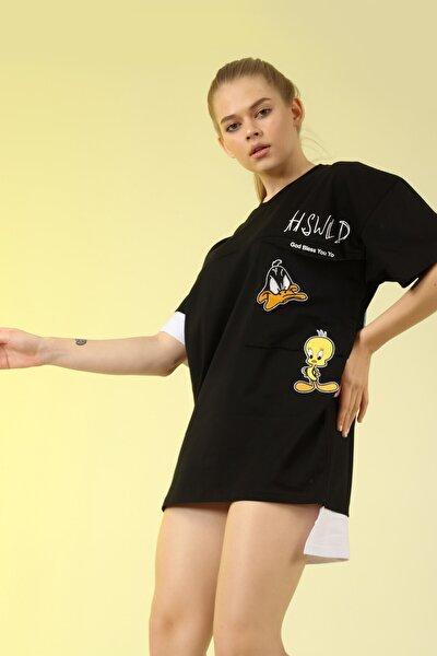 Kadın Siyah Baskılı Tshirt