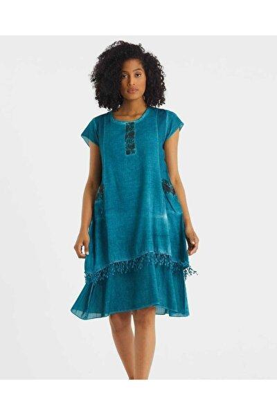Kadın Petrol Mavi Dantel Detaylı Yıkamalı Elbise