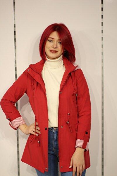 Kadın Kırmızı Keten Kapüşonlu Mevsimlik