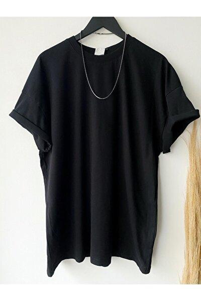 Erkek Siyah Yeni Sezon Oversize Basic T-Shirt