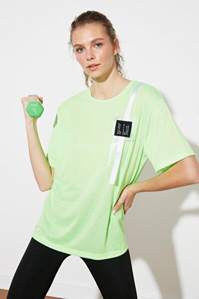 Neon Yeşil Cep Detaylı Spor T-Shirt TWOSS21TS1336