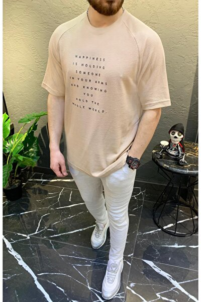 Bej Jakarlı Oversize Bisiklet Yaka Kısa Kol T-shirt