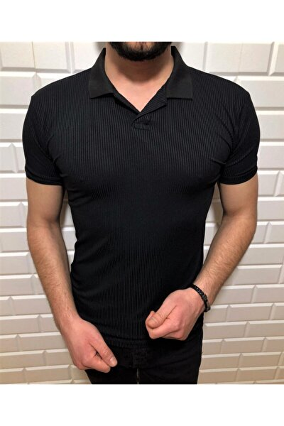 Polo Yaka Fitilli Kısa Kollu T-shirt