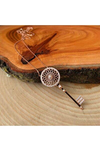 Kadın Zirkon Taşlı Anahtar Gümüş Kolye AG1301