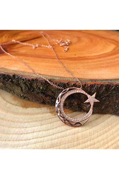 Kadın Zirkon Taşlı Ayyıldız Gümüş Kolye AG1300