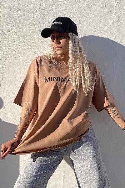 Kadın Kahverengi Minimalist Baskılı Bisiklet Yaka T shirt