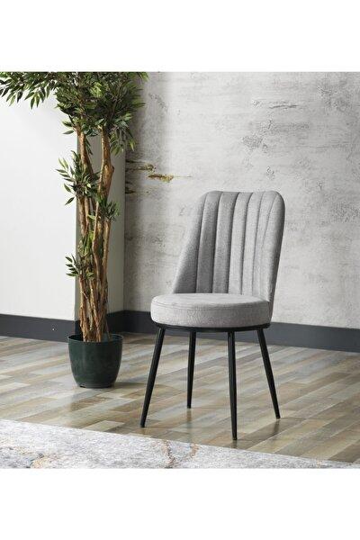 Zeyra Siyah Metal Ayaklı Gri Renk Mutfak Sandalyesi-yemek Masası Sandalyesi